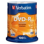 Verbatim 95102 DVD Recordable Media Spindle, DVD-R, 16X, 4.70GB, 100/Pack