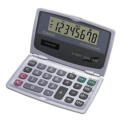Casio ® SL-200TE 8 Digit Handheld Foldable Pocket Calculator, Silver