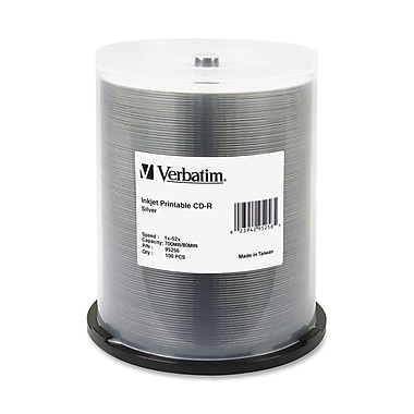 Verbatim 95256 CD Recordable Media Spindle, CD-R, 52X, 700 Mb, 100/Pack