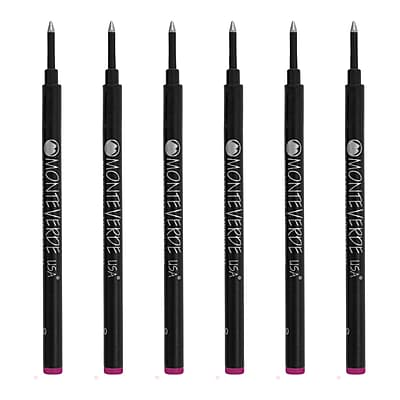 Monteverde® Medium Rollerball Refill For Most Rollerball Pens, 6/Pack, Purple