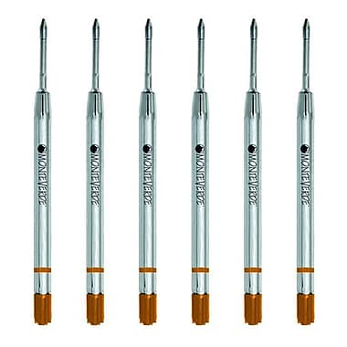 Monteverde® Fine Gel Ballpoint Refill For Parker Gel Ballpoint Pens, 6/Pack, Brown