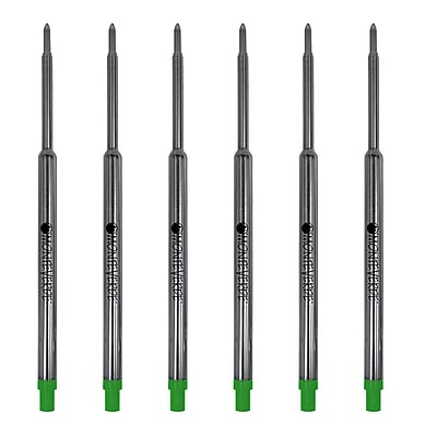 Monteverde® Medium Ballpoint Refill For Waterman Ballpoint Pens, 6/Pack, Green