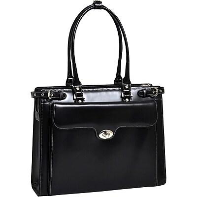 McKlein W Series, WINNETKA, Genuine Cowhide Leather,Ladies' Laptop Briefcase w/ Removable Sleeve, Black (94835)