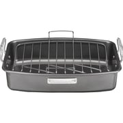 "Cuisinart® 17"" x 13"" Non Stick Heavy Steel Roaster With V-Rack, Gray"