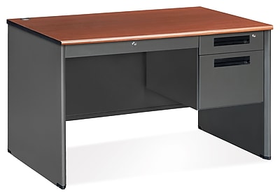 OFM Executive Standard Pedestal Panel End Desk with Center Drawer, Cherry (77348-CHY)