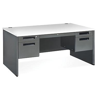 OFM Executive Standard Double Pedestal Panel End Desk, Gray Nebula (77360-GRYNB)