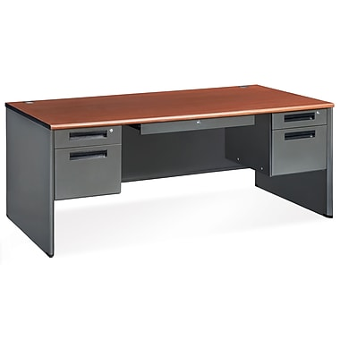 OFM Executive Standard Double Pedestal Panel End Desk, Cherry (77372-CHY)