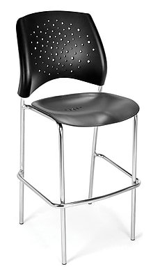 OFM Star Series Plastic Cafe Height Chair, Black