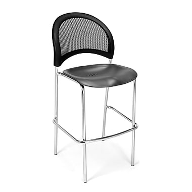 OFM Moon Series Plastic Cafe Height Chair, Black