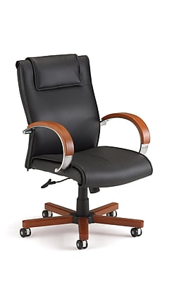 OFM 845123004005 Apex Mid-Back Leather Executive Chair with Fixed Arms, Cherry