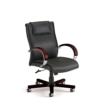 OFM Mid-Back Leather Executive Chair, Fixed Arm, Black