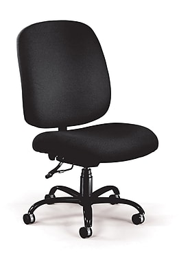 OFM Big and Tall Fabric Mid-Back Armless Swivel Task Chair, Black, (700-236)