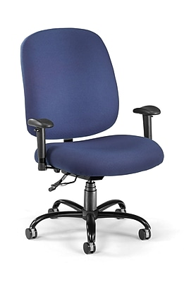 OFM Big and Tall Fabric Mid-Back Swivel Task Chair with Arms, Navy, (700-AA6-237)