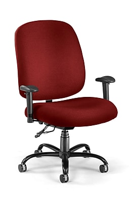 OFM Big and Tall Fabric Mid-Back Swivel Task Chair with Arms, Wine, (700-AA6-238)