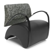 OFM Recoil Lounge Chair with Fabric Back and Polyurethane Seat, Black with Nickel (841-NCKL-PU606)
