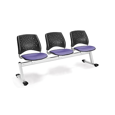 OFM Star Series Fabric 3 Seat Beam Seating, Lavender