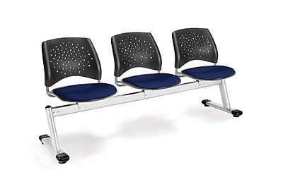 OFM Star Series Fabric 3 Seat Beam Seating, Navy