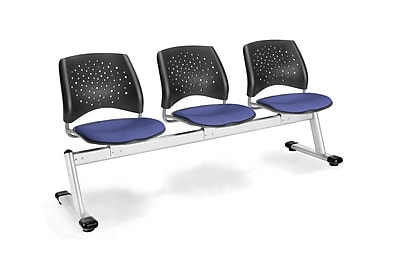 OFM Star Series Fabric 3 Seat Beam Seating, Colonial Blue