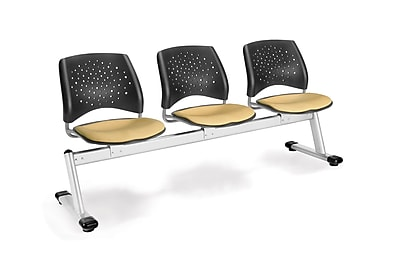 OFM Star Series Fabric 3 Seat Beam Seating, Golden Flax