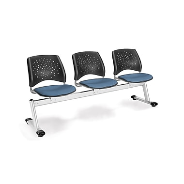 OFM Star Series Fabric 3 Seat Beam Seating, Cornflower Blue