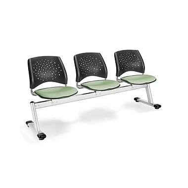 OFM Star Series Fabric 3 Seat Beam Seating, Sage Green