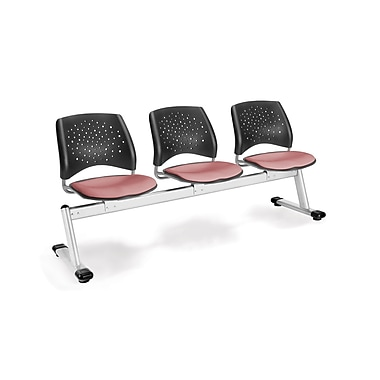 OFM Star Series Fabric 3 Seat Beam Seating, Coral Pink