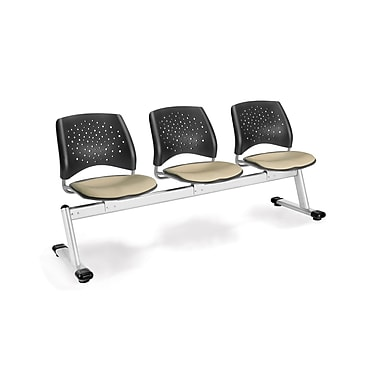 OFM Star Series Fabric 3 Seat Beam Seating, Khaki