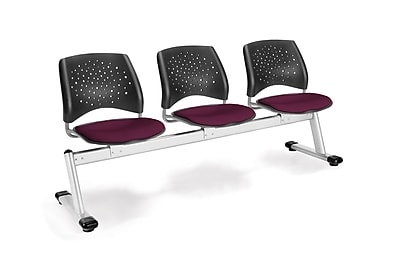 OFM Star Series Fabric 3 Seat Beam Seating, Burgundy