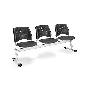 OFM Star Series Fabric 3 Seat Beam Seating, Slate Gray