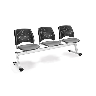 OFM Star Series Fabric 3 Seat Beam Seating, Putty