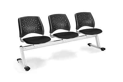 OFM Star Series Fabric 3 Seat Beam Seating, Black