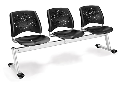 OFM Star Series Plastic 3 Seat Beam Seating, Black