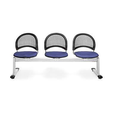 OFM Moon Series Fabric 3 Seat Beam Seating, Colonial Blue