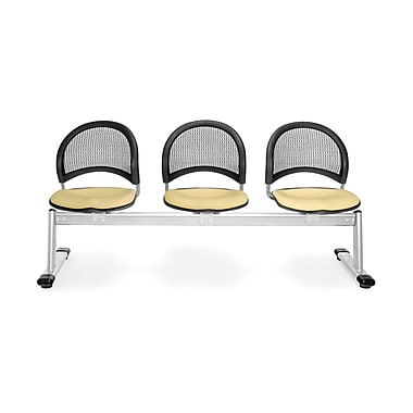 OFM Moon Series Fabric 3 Seat Beam Seating, Golden Flax (845123008331)