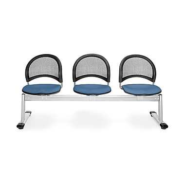 OFM Moon Series Fabric 3 Seat Beam Seating, Cornflower Blue