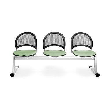 OFM Moon Series Fabric 3 Seat Beam Seating, Sage Green