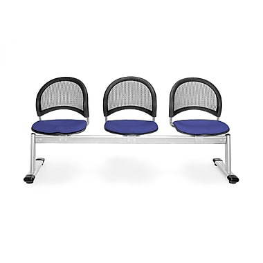 OFM Moon Series Fabric 3 Seat Beam Seating, Royal Blue