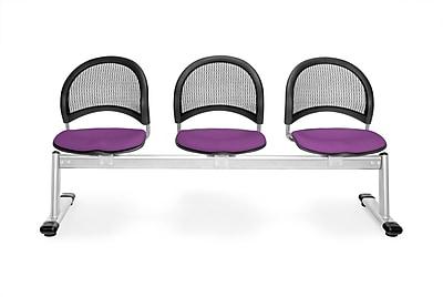 OFM Moon Series Fabric 3 Seat Beam Seating, Plum