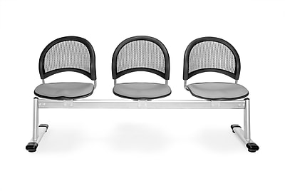 OFM Moon Series Fabric 3 Seat Beam Seating, Putty