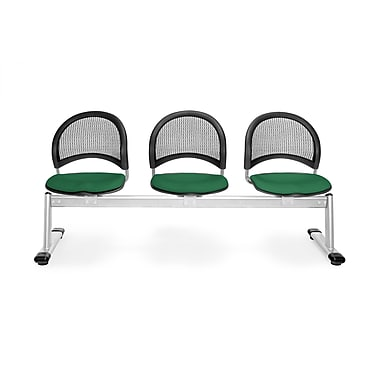 OFM Moon Series Fabric 3 Seat Beam Seating, Forest Green