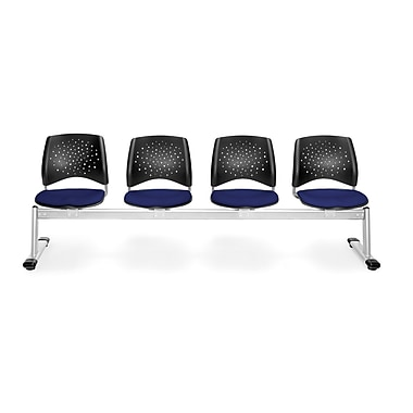 OFM Star Series Fabric 4 Seat Beam Seating, Navy
