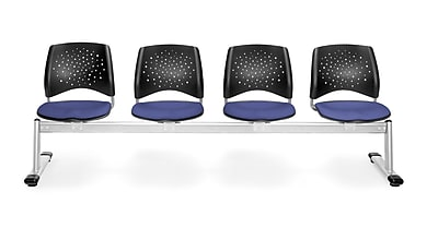 OFM Star Series Fabric 4 Seat Beam Seating, Colonial Blue