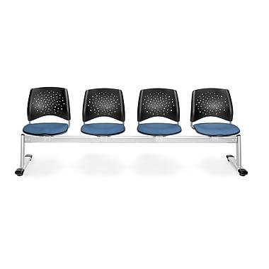 OFM Star Series Fabric 4 Seat Beam Seating, Cornflower Blue