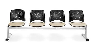 OFM Star Series Fabric 4 Seat Beam Seating, Khaki
