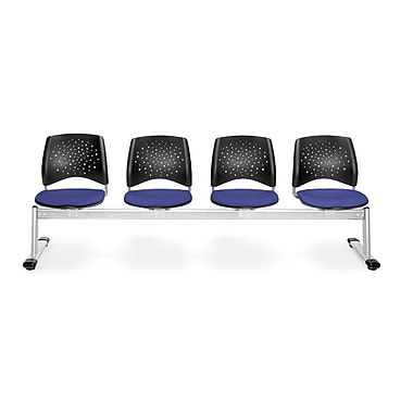 OFM Star Series Fabric 4 Seat Beam Seating, Royal Blue
