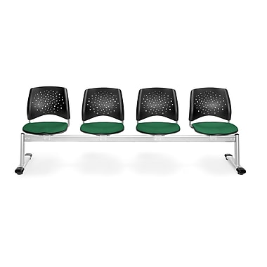 OFM Star Series Fabric 4 Seat Beam Seating, Forest Green