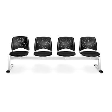 OFM Star Series Fabric 4 Seat Beam Seating, Black