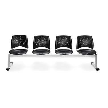 OFM Star Series Plastic 4 Seat Beam Seating, Black