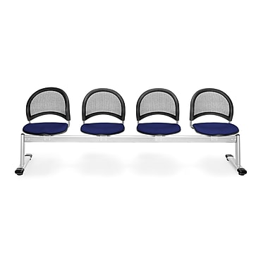 OFM Moon Series Fabric 4 Seat Beam Seating, Navy