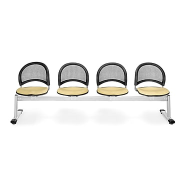 OFM Moon Series Fabric 4 Seat Beam Seating, Golden Flax